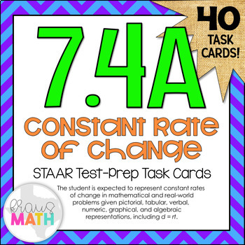 7.4A: Constant Rate of Change STAAR Test-Prep Task Cards (