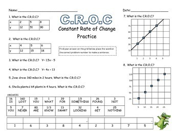 7.4a Constant Rate of Change Practice Sheets-Bundle