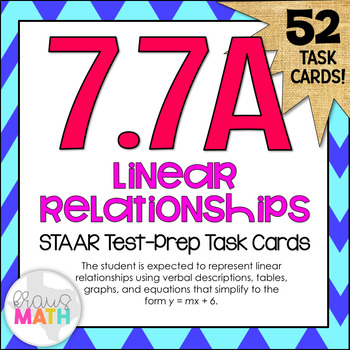 7.7A: Linear Relationships STAAR Test-Prep Task Cards (GRADE 7)