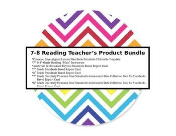 7-8 Reading Teacher Product Bundle - Lesson Plan Book Comm