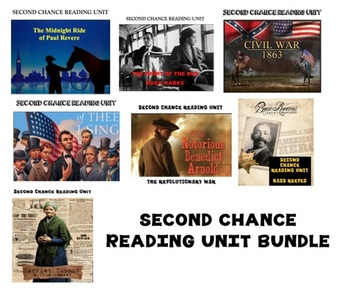 7 Bundled Second Chance Reading Units - American History Themed
