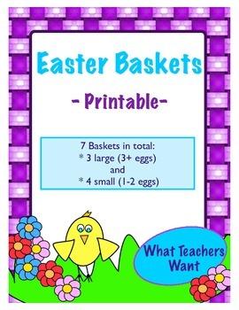 7 Easter Baskets - Printable - 4 Small (1-2 eggs) and 3Lar