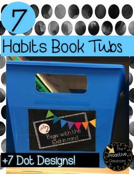 7 Habits Book Tub Labels Dots--Leader in Me