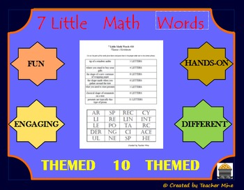 7 Little Math Words 10 Geometry (Themed) Vocabulary Review