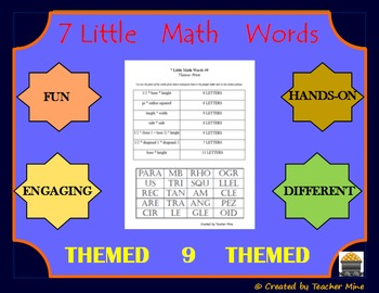 7 Little Math Words 9 Geometry (Themed) Vocabulary Review