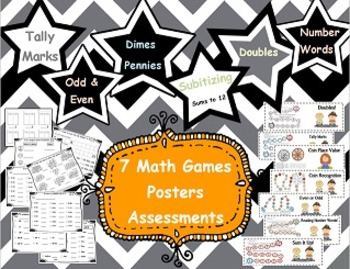 7 Math Games and Assessments Tally Marks, Coins,  Addition