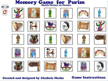 7 Memory Game for Purim photo to photo English