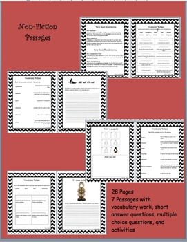 7 Non-Fiction Passages with Activities and Questions, Wint