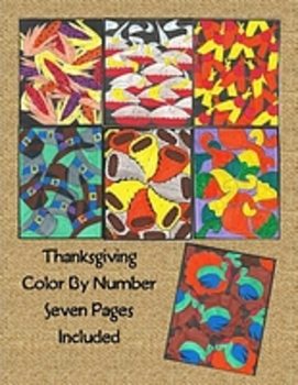 7 Pg Thanksgiving Color By Number: Turkey, Pilgrim Hats, I