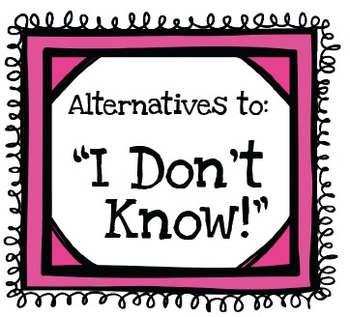 """7 Poster Set for Alternates to Saying """"I Don't Know!"""" Perf"""