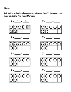 7 Subtraction Roll