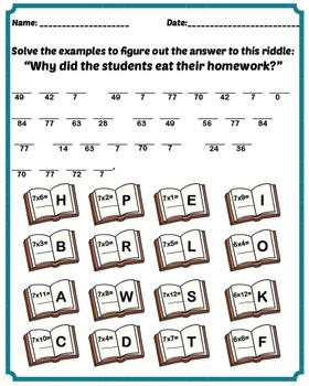 7 times table fun sheet