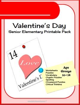 700 pg Valentine Day Senior Elementary Printables & Worksh