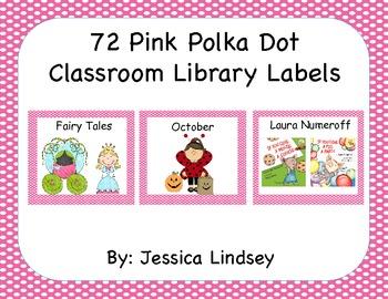 72 Pink Polka Dot Classroom Labels