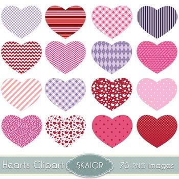 Hearts Clipart Washi Hearts Clip Art Scrapbooking Printabl