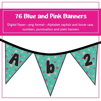 76 Blue and Pink Stars Banners for classroom decoration, p