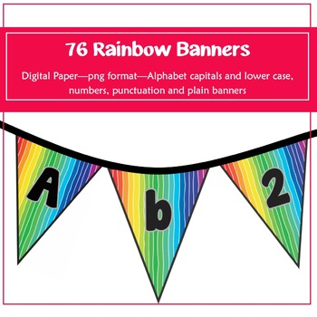 76 Rainbow Banners for classroom decoration, parties and m