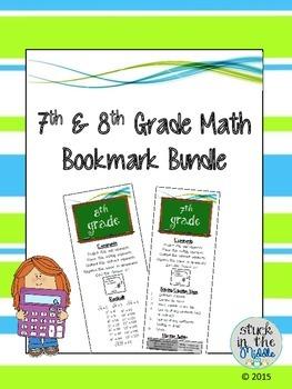 7th & 8th Grade Math Bookmark