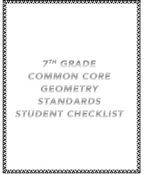 7th CCSS Geometry Standards Student Checklist
