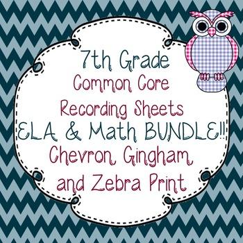 7th Gr. Common Core Tracking Sheets Math & ELA Bundle-Chev