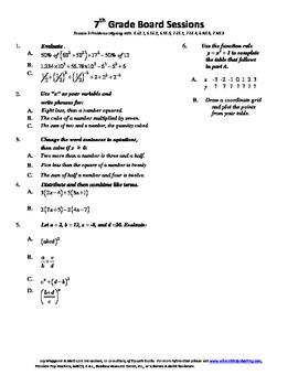 7th Grade Board Session 9,Common Core,Review,Math Counts,Q