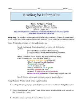 7th Grade Close Reading & Written Response Packet: Compari