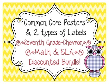 7th Grade Common Core CCSS Labels and Posters Math and ELA