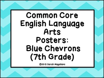 7th Grade Common Core ELA Standards Posters: Blue Chevron Theme