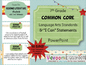 """7th Grade Common Core ELA Standards with """"I Can"""" Statements"""