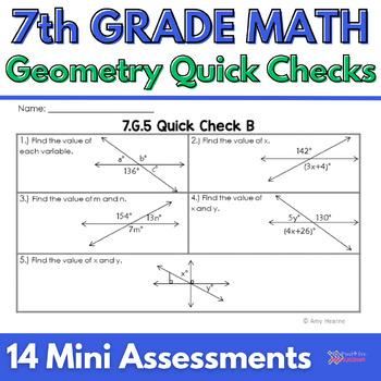 7th Grade Common Core Geometry Quick Check Sheets & Standa