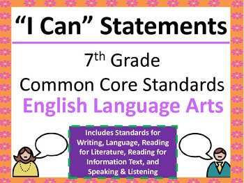 "7th Grade Common Core ""I Can"" Statements for English Langu"