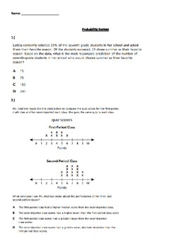 7th Grade Common Core Math Assessment Review: Probability