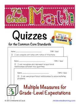 7th Grade Common Core Math Quizzes - All Standards