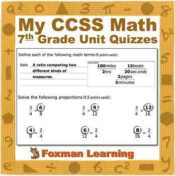 7th Grade Math Quizzes--Terms and Skills--CCSS Common Core