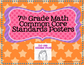 7th Grade Common Core Math Standards Posters- Rainbow Stars