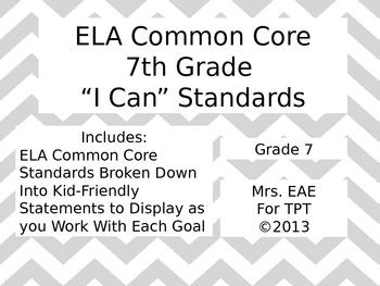 7th Grade ELA Common Core I Can Standards
