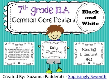 7th Grade ELA Common Core Posters - Black and White