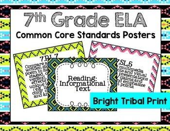 7th Grade ELA Common Core Posters- Bright Tribal Print
