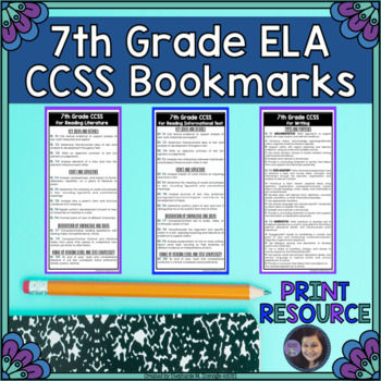 7th Grade ELA Common Core State Standards Bookmarks