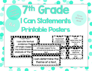 7th Grade ELA I Can Statements for CCSS Standards (Black Dots)