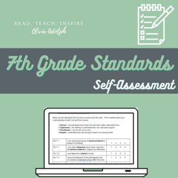 7th Grade ELA Standards Based Student Self-Assessment (Editable!)