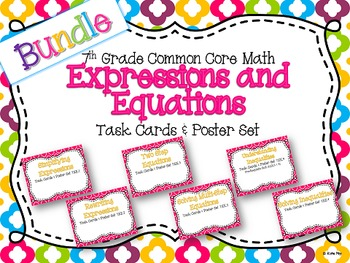 7th Grade Expressions and Equations Task Card and Poster U