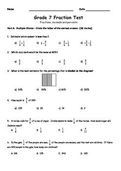 7th Grade Fraction Test