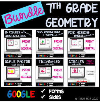 7th Grade Geometry Task Cards and Posters Unit Resource Bundle