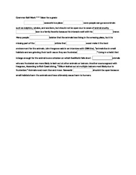 7th Grade Grammar Quiz with Drop down boxes