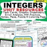 INTEGERS Task Cards, Error Analysis, HW Practice, Graphic