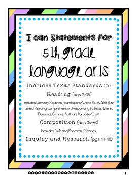 5th Grade Language Arts I Can Statements (Texas Standards, TEKS)