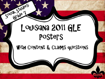 7th Grade Louisiana GLE Posters for Social Studies on USA