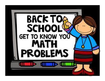 7th Grade MATH  Back to School - Get to Know You Problem Cards