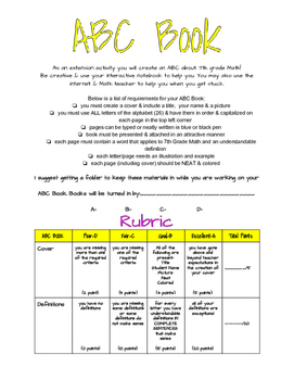 7th Grade Math ABC Book (Differentiation, Extension Activity)